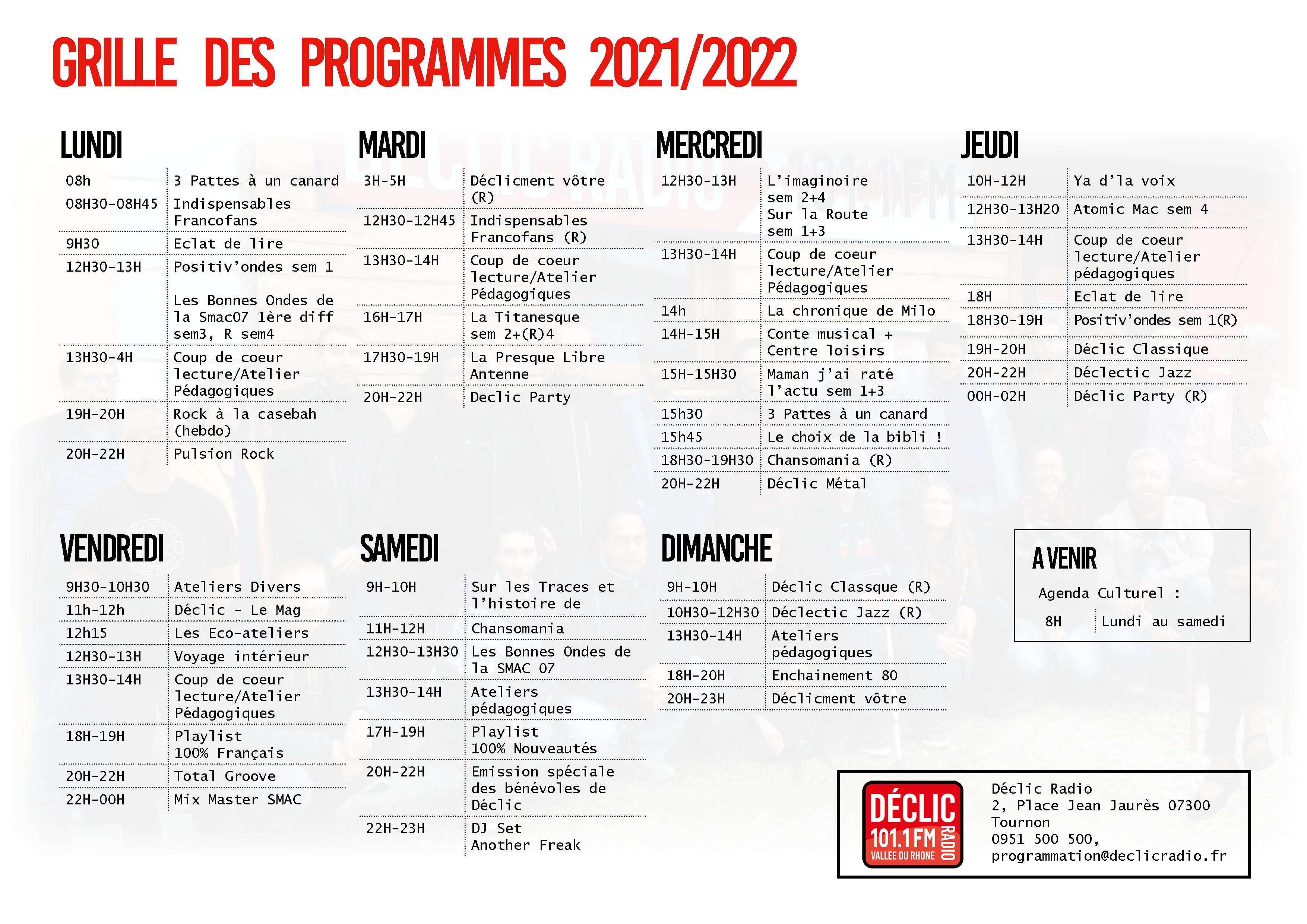 Déclic Radio Grille des programmes 20212022
